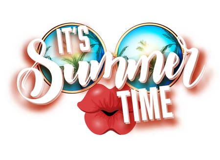 Summer lettering design with sunglasses and kissing full lips. Bright design with hand written Its summer time words.