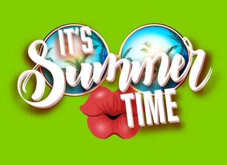 full lips: Summer lettering design with sunglasses and kissing full lips.