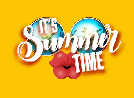 kissing lips: Summer lettering design with sunglasses and kissing full lips. Bright design with hand written Its summer time words.