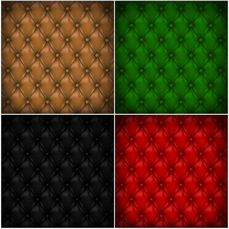 covering: Set of button-tufted leather backgrounds. Color leather upholstery. Vector illustration.