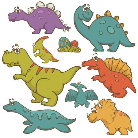 pteranodon: Dinosaur collection set. Dinosaurs cute monster animal and prehistoric. Cartoon style. Vector Illustration.