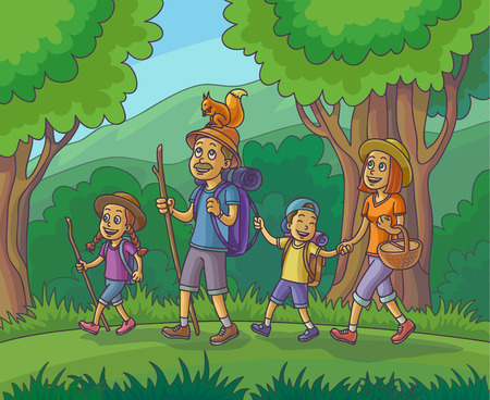 sleeping bags: Happy family is hiking in the forest. Vector Illustration.