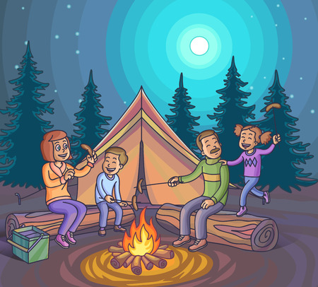 bonfire: Happy family camping with campfire at night. Vector Illustration. Illustration
