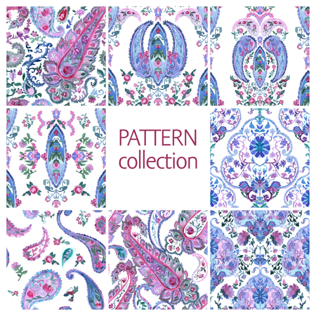 indische muster: Paisley Indian or turkish persian seamless pattern set. Watercolor style. Handdrawn eastern ornament collection. Vector Illustration.