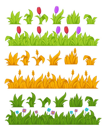 wheat grass: Green grass. Yellow wheat. Vector Illustration. Isolated on white. Illustration
