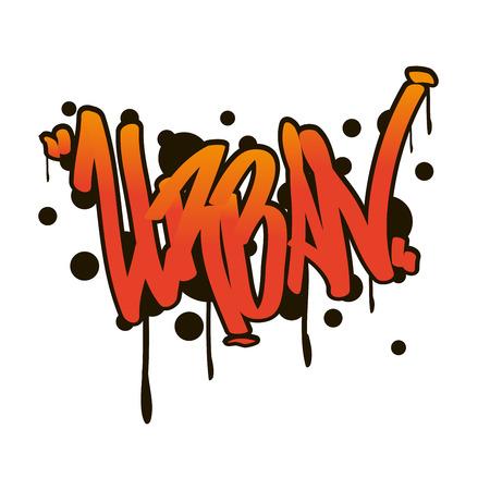Graffity lettering Urban street art. Street style word urban. Wall painting. Vector Illustration