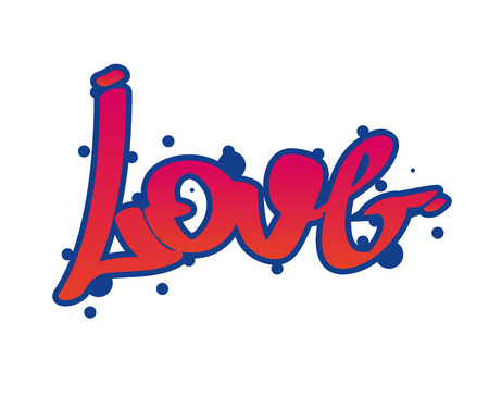 Graffity lettering Urban street art. Street style words love. Wall painting. Vector Illustration