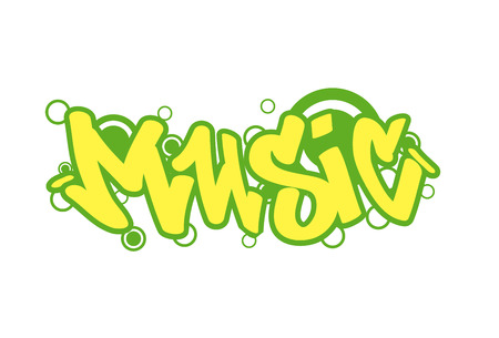 Graffity lettering Urban street art. Street style words music. Wall painting. Vector Illustration Stock Illustratie