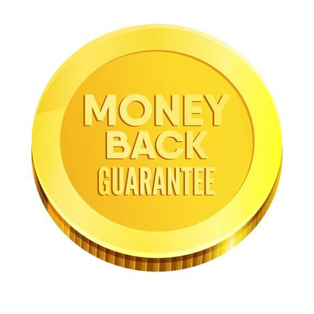 Golden coin. Money back guarantee business seal. Vector Illustration