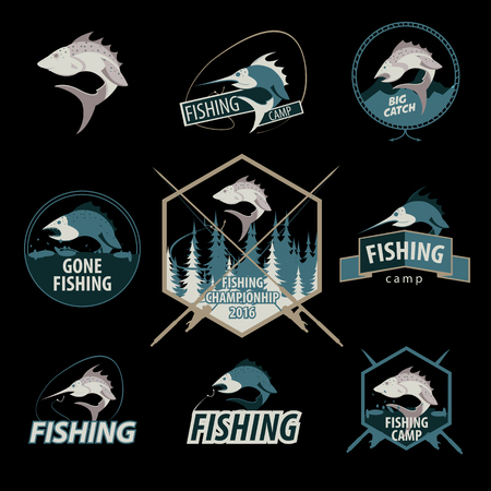 rainbow trout: Set of fishing , emblems, badges and design elements. Vector Illustration.