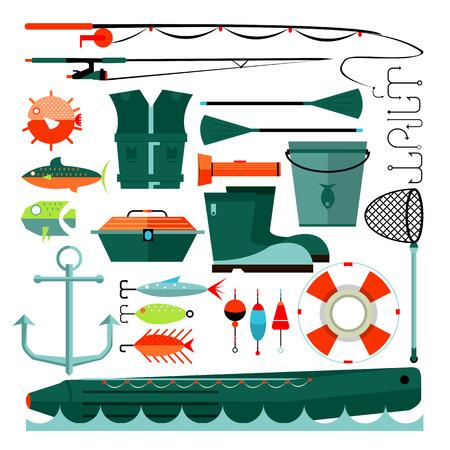 big boat: Big set of fishing elements. Flat design. Fishing hooks, rod boat, anchor and other. Vector Illustration.