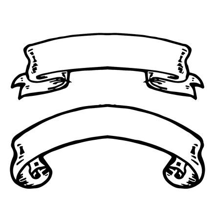 lijntekening: Vintage lint banners, met de hand getekende set. Het verzamelen van hand getekende elementen. Vintage tekening in graveren stijl. Vector Illustratie. Stock Illustratie