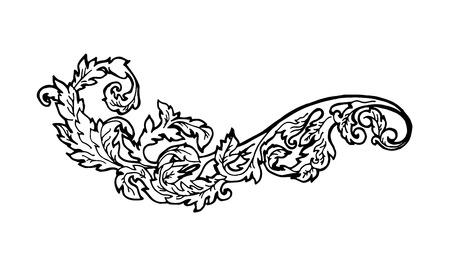 elemento: Vintage elemento di design floreale. Elemento decorativo in stile incisione. Illustrazione.