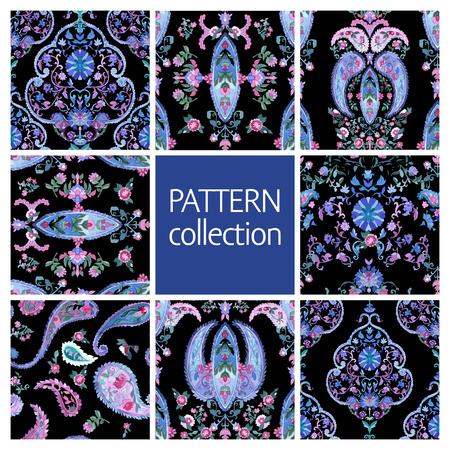 persian: Paisley Indian or turkish persian seamless pattern set. Watercolor style. Handdrawn eastern ornament collection. Vector Illustration.