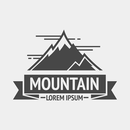 exploration: Mountain exploration vintage , emblem or silhouette. template and badge with mountains. Vector Illustration.