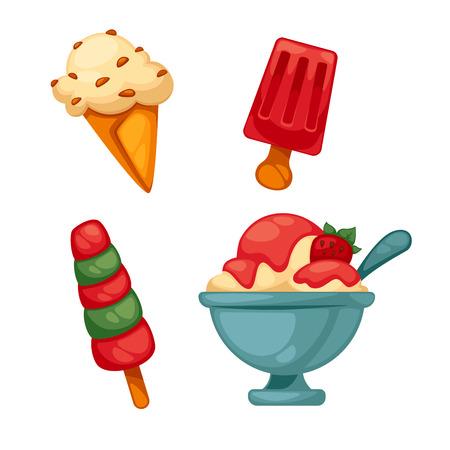 choc: Set of colorful tasty ice cream. Isolated on white. Vector illustration. Illustration