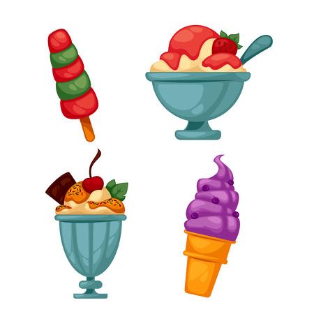 alimentos congelados: Conjunto de colorido sabroso helado. Aislado en blanco. Ilustración del vector.