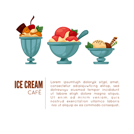 choc: Colorful tasty ice cream. Ice cream cafee poster or menu template. Isolated on white. Vector illustration. Illustration