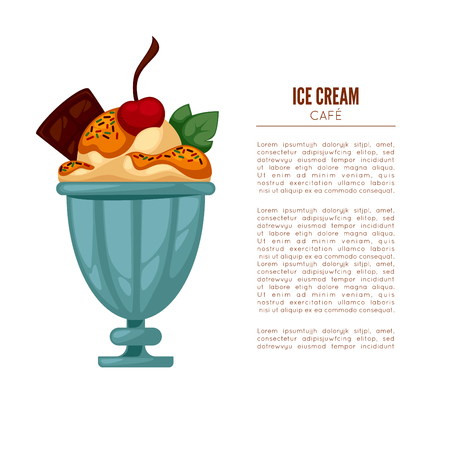 Colorful tasty ice cream. Ice cream cafee poster or menu template. Isolated on white. Vector illustration. Illustration