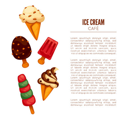 Colorful Tasty Ice Cream. Ice Cream Cafee Poster Or Menu Template ...