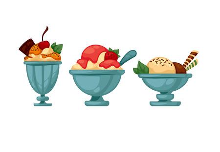 Set of colorful tasty ice cream. Isolated on white. Vector illustration. Illustration