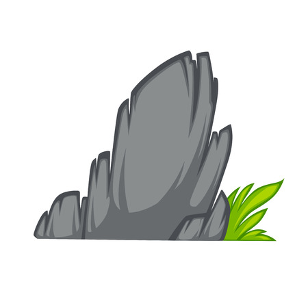 boulder: Rock stone cartoon flat style. With grass. Vector Illustration.
