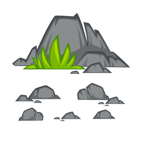 boulder: Rock stone cartoon flat style. Set of different boulders with grass. Vector Illustration.