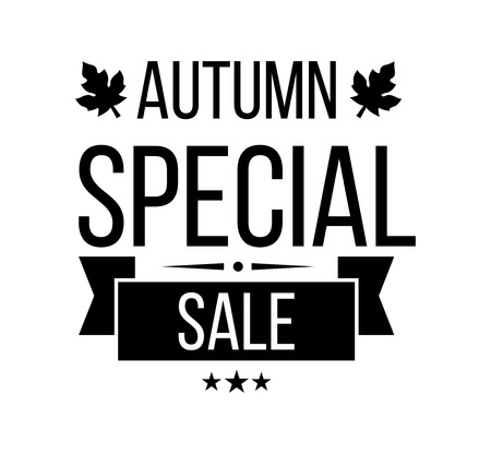 super market: Autumn sale . Special offer badge or label and ribbon, element with leaves, banner. Vector Illustration.