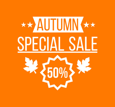 typo: Autumn sale . Special offer badge or label and ribbon, element with leaves, banner. Vector Illustration.