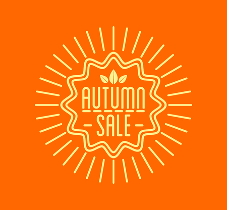 Autumn sale . Special offer badge or label and ribbon, element with leaves, banner. Vector Illustration.