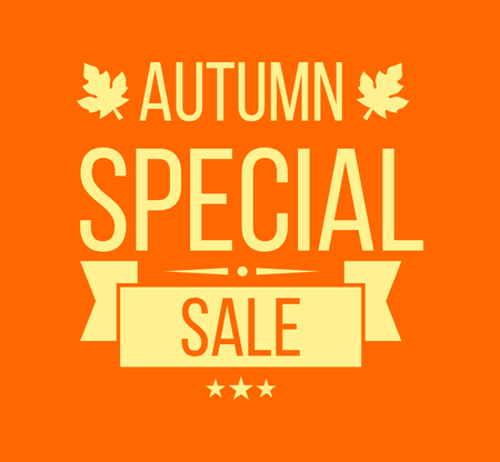 tally: Autumn sale . Special offer badge or label and ribbon, element with leaves, banner. Vector Illustration.