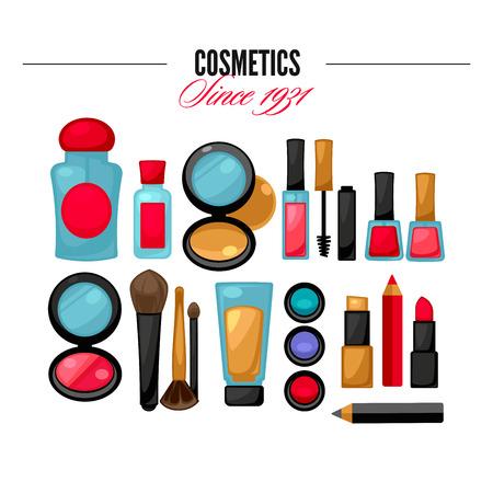 Herramientas de cosméticos productos de belleza. Maquillaje facial. establece glamour. Ilustración del vector.