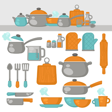 dishes set: Cooking tools Dishes set. Kitchen equipment, products on the shelves. Vector Illustration.