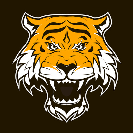 tigress: Angry Tiger Face. Roaring tiger head. Suitable as sport team mascot or tattoo. Vector Flat Illustration. Illustration