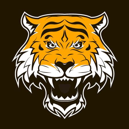 tigresa: Cara del tigre enojado. Rugiente cabeza de tigre. Adecuado como mascota del equipo deportivo o un tatuaje. Ilustración del vector del plano.
