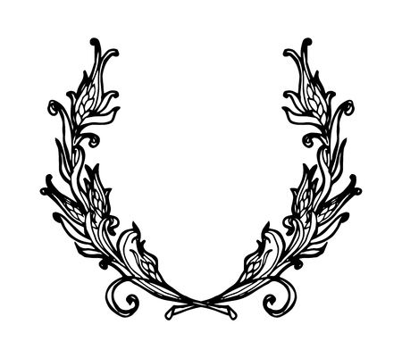 oak wreath: Laurel wreath branches set. Decorative elements at engraving style. Vector Illustration. Isolated on white. Illustration