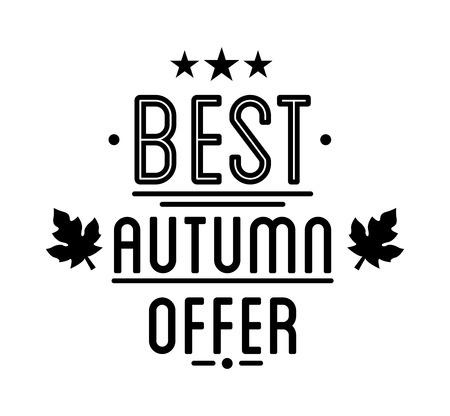 tally: Autumn sale Logotype. Special offer badge or label and ribbon, element with leaves, banner. Vector Illustration.