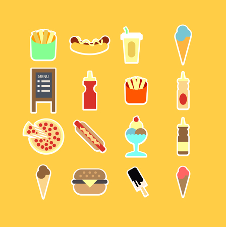 provisions: Fastfood flat icon set. Vector Illustration. Isolated.