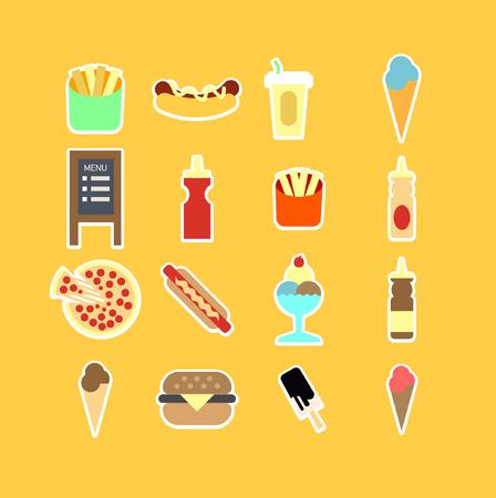 ration: Fastfood flat icon set. Vector Illustration. Isolated.