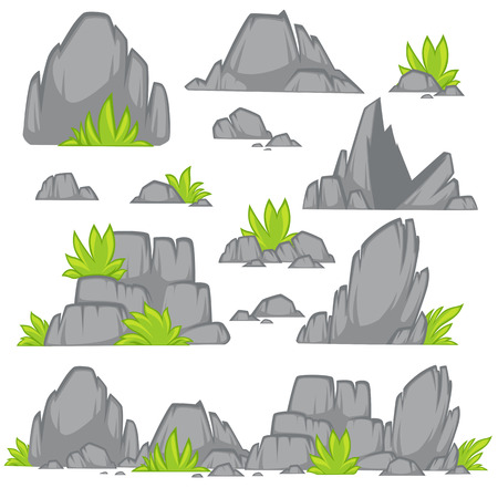 rubble: Rock stone cartoon flat style. Set of different boulders with grass. Vector Illustration.