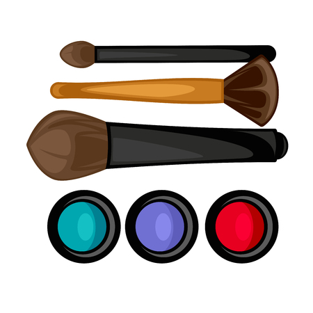 Colored pallets with eye shadows, brushes for eye makeup. Eye shadows pallet. Vector illustration. Illustration