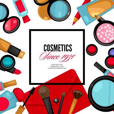 lipstick brush: Cosmetics and fashion make up objects: mirror, lipstick, cream, case, brush. Vector Illustration.