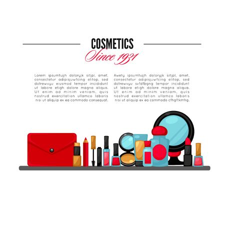 make up artist: Cosmetics and fashion background with make up artist objects