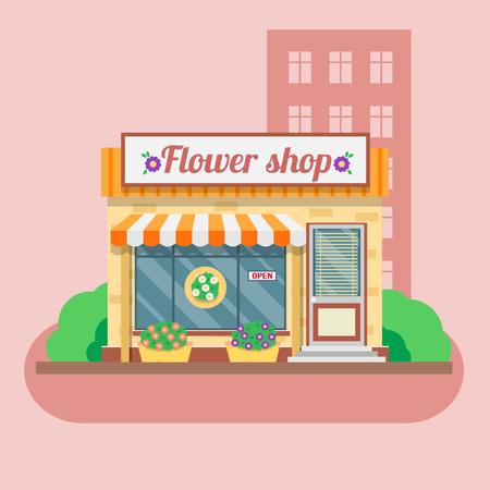 shops: Flower shop facade. Vector illustration in flat style.