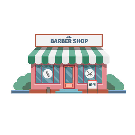 shop show window: Barber in the barber shop in town. Vector Illustration. Illustration