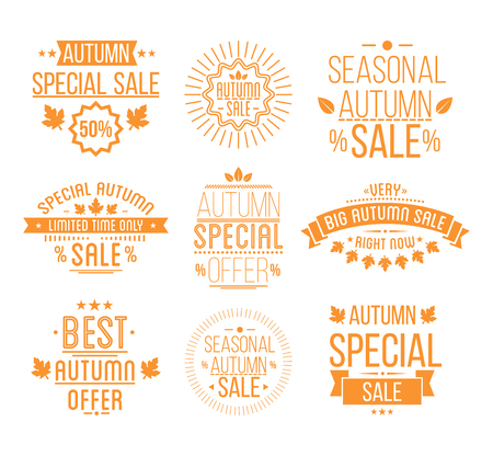 logotypes: Autumn sale Logotypes set. Special offer badges and labels, ribbons orelements with leaves, banners. Vector Illustration. Illustration