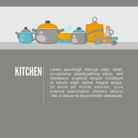 kitchen equipment: Kitchen equipment objacts background. Flat design kitchen concept. Vector illustration.