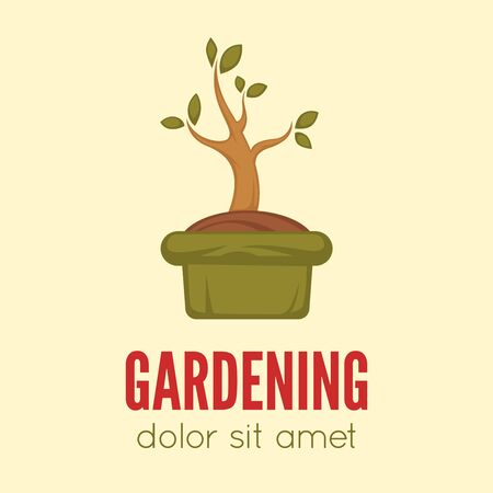 Gardening logo concept template with sample text ,farming and agriculture sign. Vector illustration.