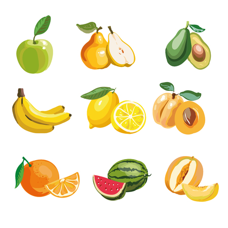 apple isolated: Colorful fruit icons set apple, pear, avocado, orange, peach, watermelon, banana, pineapple, melon, lemon. Vector illustration, isolated on white. Illustration