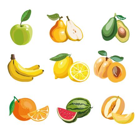 Colorful fruit icons set apple, pear, avocado, orange, peach, watermelon, banana, pineapple, melon, lemon. Vector illustration, isolated on white. Illustration
